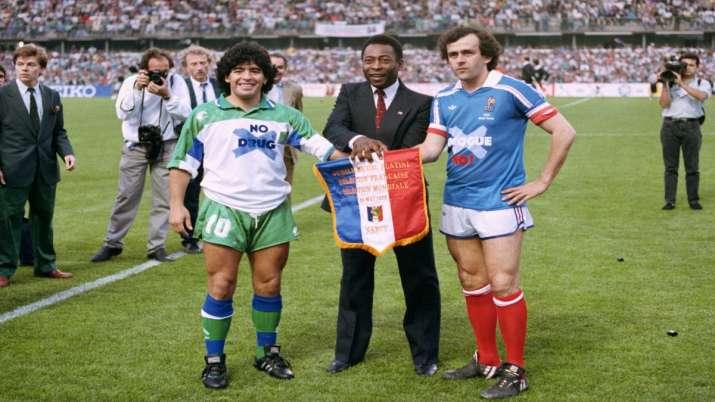 Diego Maradona, Pele, and Michel Platini
