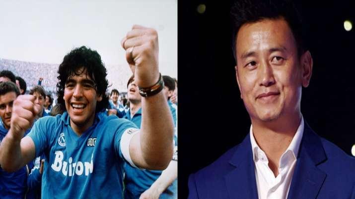 Diego Maradona andBhaichung Bhutia