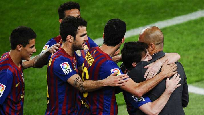 Messi was a mainstay in Guardiola's Barcelona team.