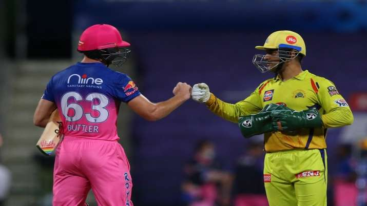 MS Dhoni and Jos Buttler in IPL 2020
