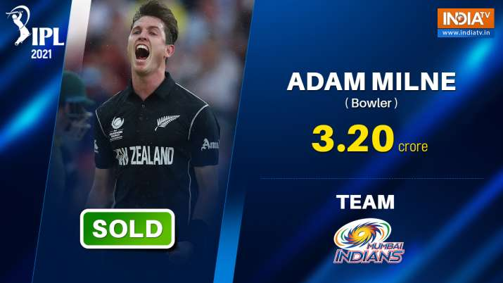 IPL 2021 Auction: New Zealand's Adam Milne fetches Rs. 3.2
