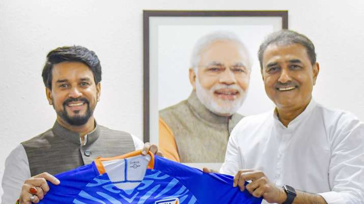 AIFF president Praful Patel meets Sports Minister Anurag Thakur